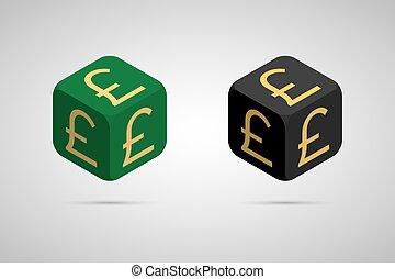 Pound. Green and Black Pound Cube