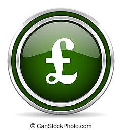 pound green glossy web icon