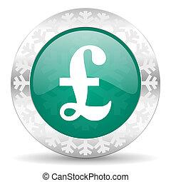 pound green icon, christmas button
