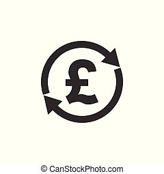 Pound icon, finance sign. Vector illustration. Flat design. Exchange, money, pound transfer icon.