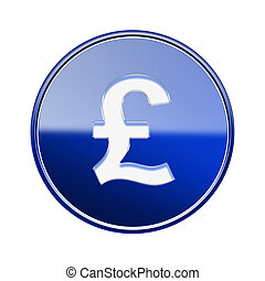 Pound icon glossy blue, isolated on white background