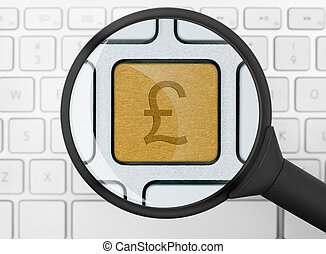 Pound icon under the magnifying glass