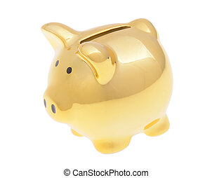 a golden piggybank isolated on white