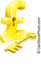 Conceptual illustration of a gold pound sterling sign and key. Concept for unlocking financial success or cash or for financial security.