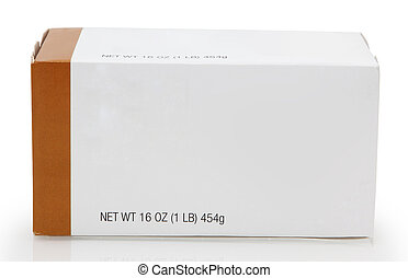 1 lb butter box with blank label for text.