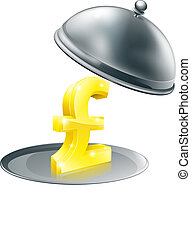 Pound on silver platter concept