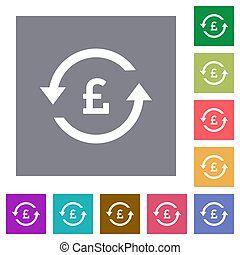 Pound pay back square flat icons