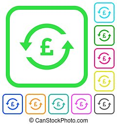 Pound pay back vivid colored flat icons in curved borders on...