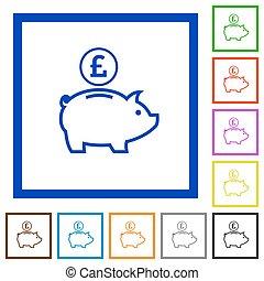 Pound piggy bank framed flat icons