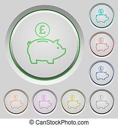 Pound piggy bank push buttons
