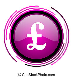 Pound pink glossy web icon isolated on white background