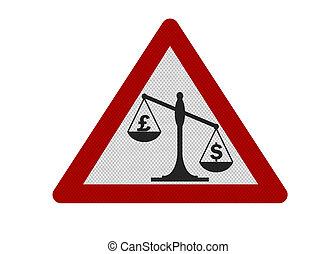 'pound, réaliste, vs., isolé, dollar', panneau avertissement, photo