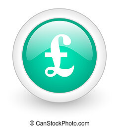 pound round glossy web icon on white background