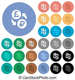 Pound Ruble money exchange round flat multi colored icons - ...