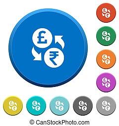 Pound Rupee money exchange beveled buttons