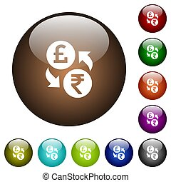 Pound Rupee money exchange color glass buttons