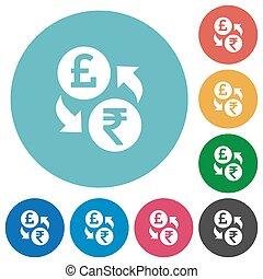 Pound Rupee money exchange flat round icons