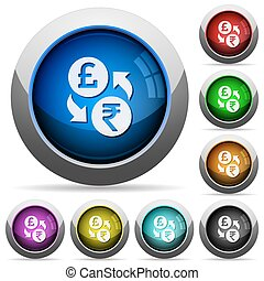 Pound Rupee money exchange round glossy buttons