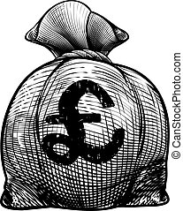 Pound Sign Burlap Sack or Money Bag