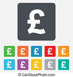 Pound sign icon. GBP currency symbol. Money label. Rounded squares 11 buttons. Vector