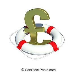 Pound sign in lifebuoy. Isolated on white background