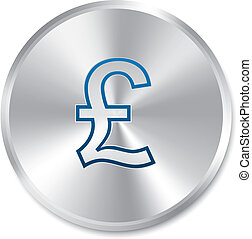 Pound silver sign. Isolated currency icon.
