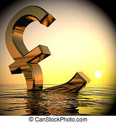 Pound Sinking In The Ocean Showing Depression Recession 3d Rendering
