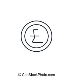 Pound Sterling coin, thin line icon. Linear vector symbol
