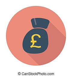Pound sterling. Single flat color icon. Vector illustration.