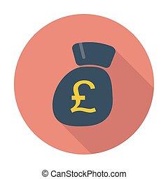 Pound sterling flat icon. - Pound sterling. Single flat...