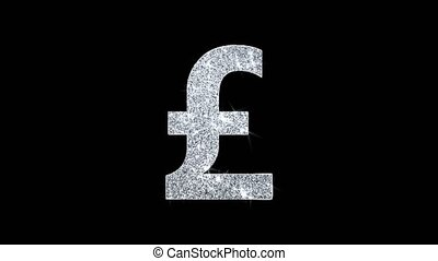 Pound Sterling Icon Shining Glitter Loop Blinking Particles.
