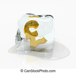 Pound sterling in the ice cube 3D rendering