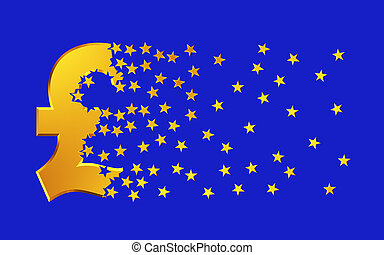 Pound Sterling Sign Falling Apart To Gold Stars Over Blue Background