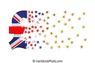 Pound Sterling Sign Falling Apart To Gold Stars Over White Background