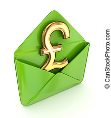 Pound sterling sign with a green envelope. Isolated on white background.3d rendered.