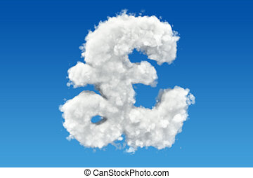 Pound sterling symbol from clouds in the sky. 3D rendering