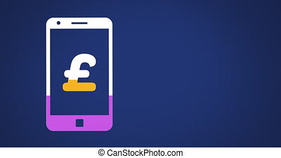 Pound sterling symbol on smartphone screen filling up with colours 4k
