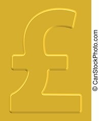 Pound sterling symbol on the gold background