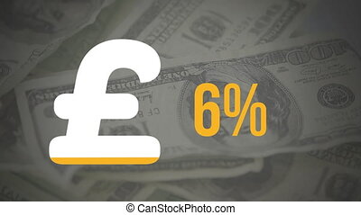 Pound symbol and percentage filling in colour and banknotes