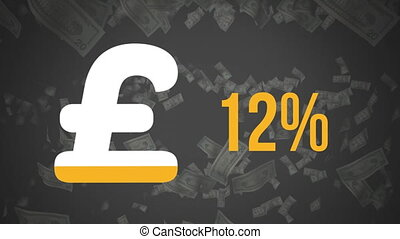 Pound symbol and percentage filling in colour and falling banknotes