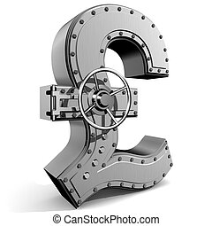 Pound symbol - Bank safe from UK pound symbol