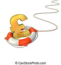 pound symbol in lifebuoy 3d concept