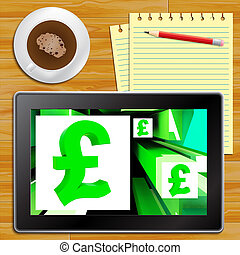 Pound Symbol On Cubes Shows Britain Currency Tablet