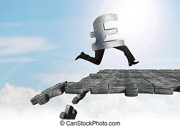 Pound symbol with human legs running on breaking puzzle ground