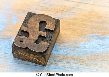 pound symbol - wood type printing block - pound currency...