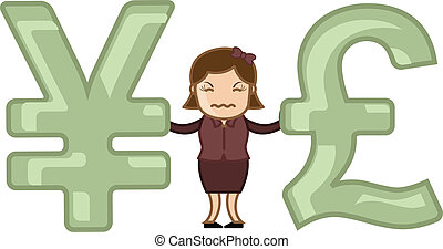 Pound Vs Yen - Vector Illustration - Conceptual Drawing Art...