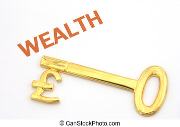 Pound wealth key - A 22k gold pound key with the word...