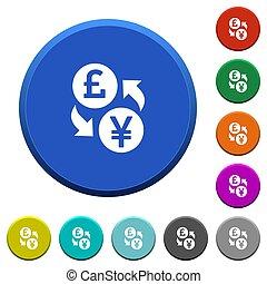 Pound Yen money exchange beveled buttons