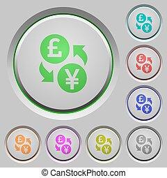 Pound Yen money exchange push buttons