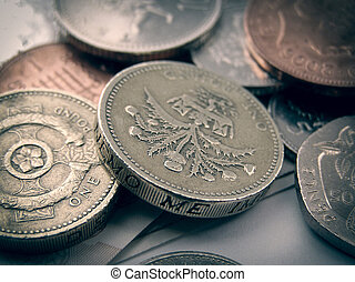 Pounds - Detail of British Pound GBP coins money